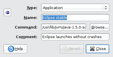 Calling Eclipse from the menu with specific JVM